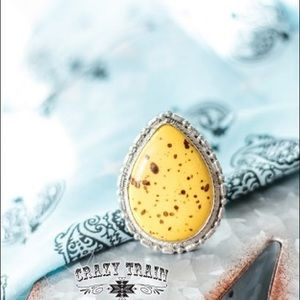 Yellow turquoise adjustable ring